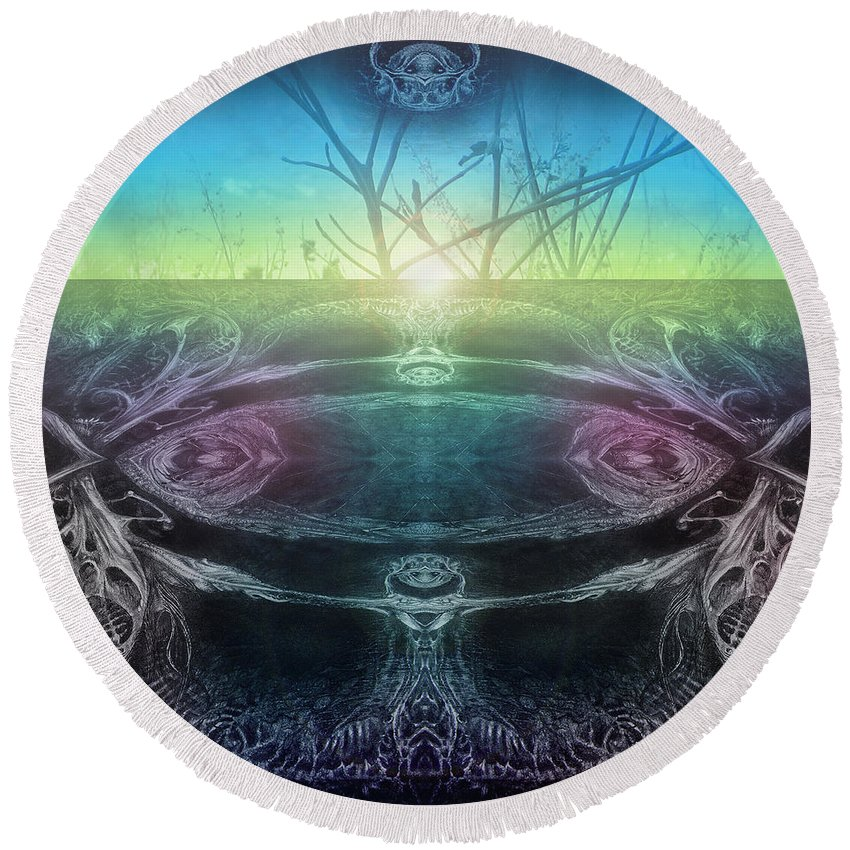 Digital Round Beach Towel featuring the digital art Perpetual Motion Landscape by Otto Rapp