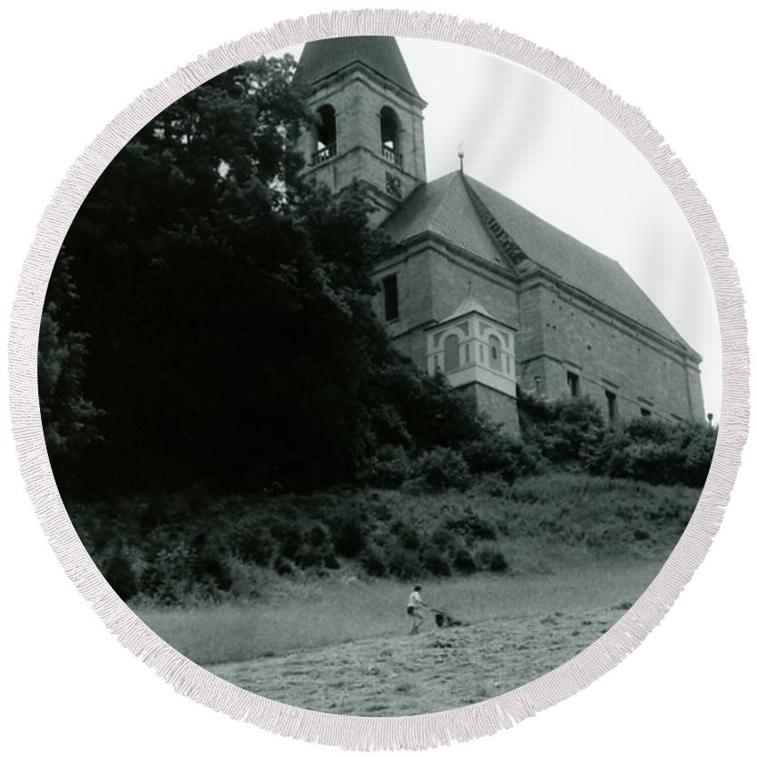 Church Round Beach Towel featuring the photograph Perseverance by Michelle Calkins