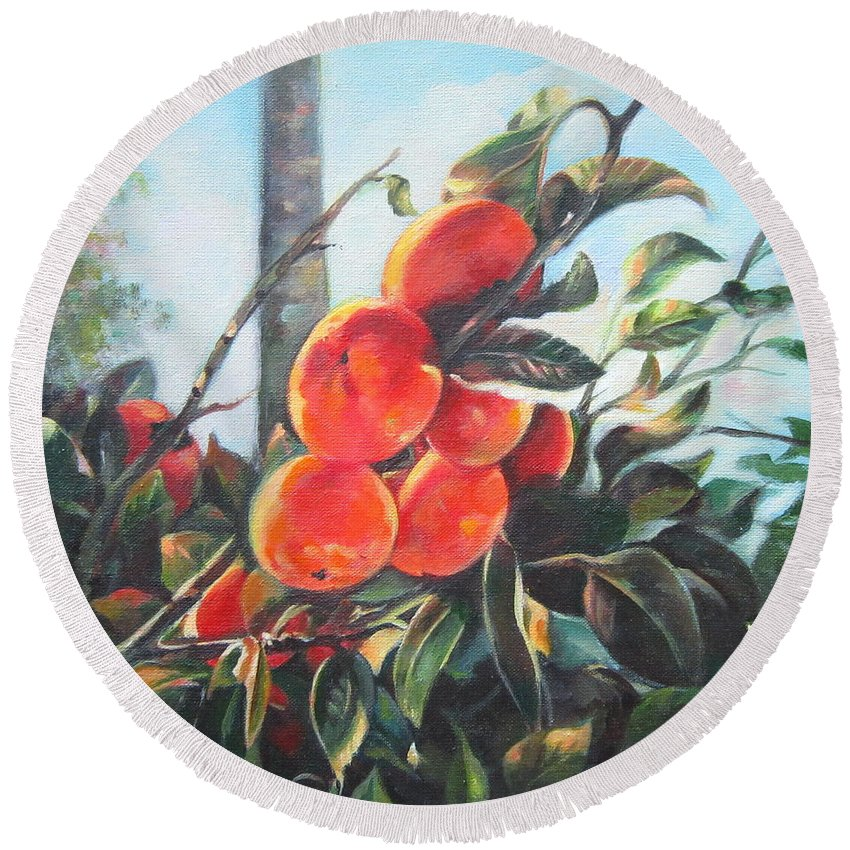 Impressionism Round Beach Towel featuring the painting Persimmons by Farideh Haghshenas