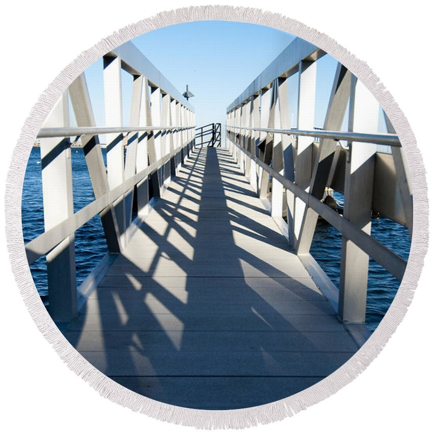 Dock Round Beach Towel featuring the photograph Perspective Iv by Greg Fortier