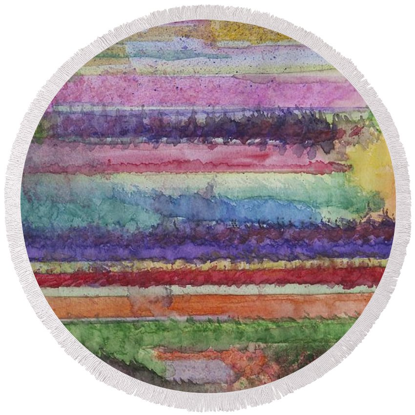 Colorful Round Beach Towel featuring the painting Perspective by Jacqueline Athmann