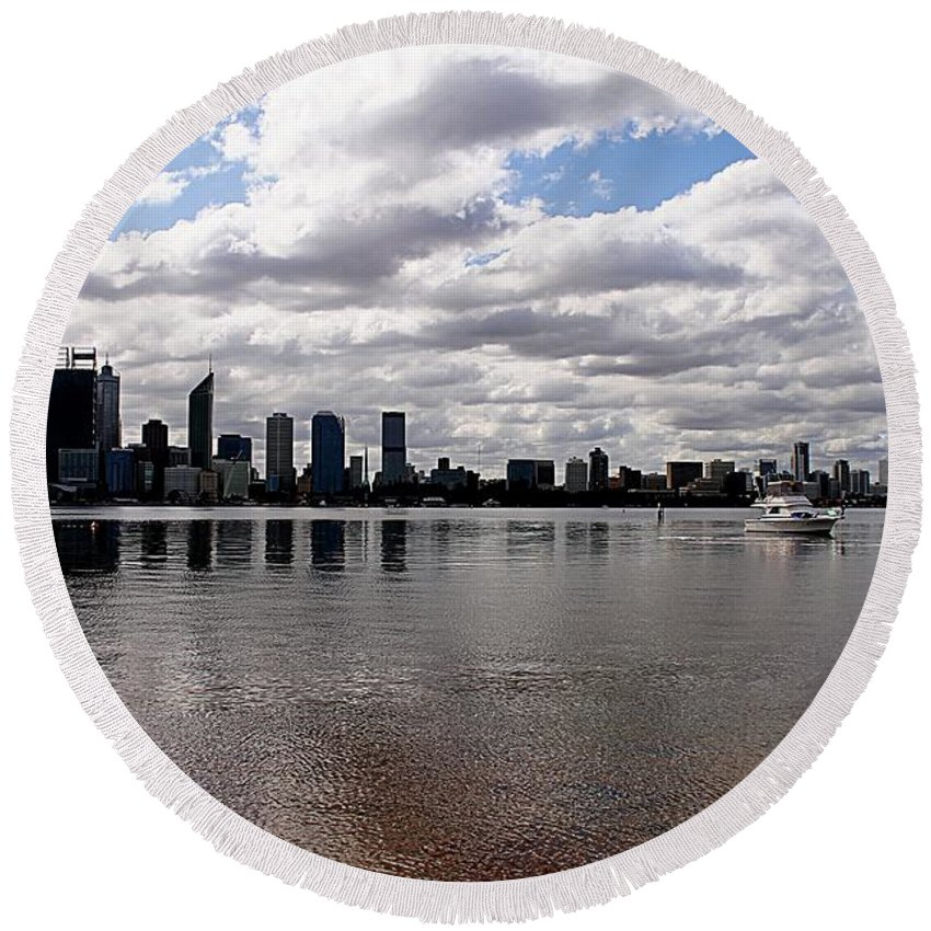 Perth City Round Beach Towel featuring the photograph Perth City From South Perth Foreshore by Carolyn Parker