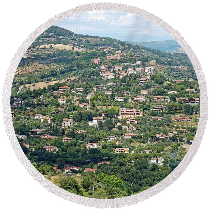 Landscape Scene Round Beach Towel featuring the photograph Perugia Countryside by Sally Weigand