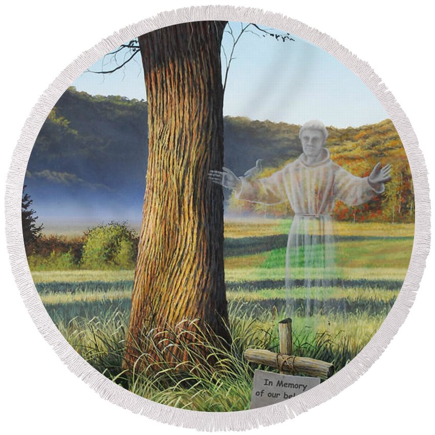 Pet Round Beach Towel featuring the painting Pet Memorial - St. Francis by Anthony J Padgett