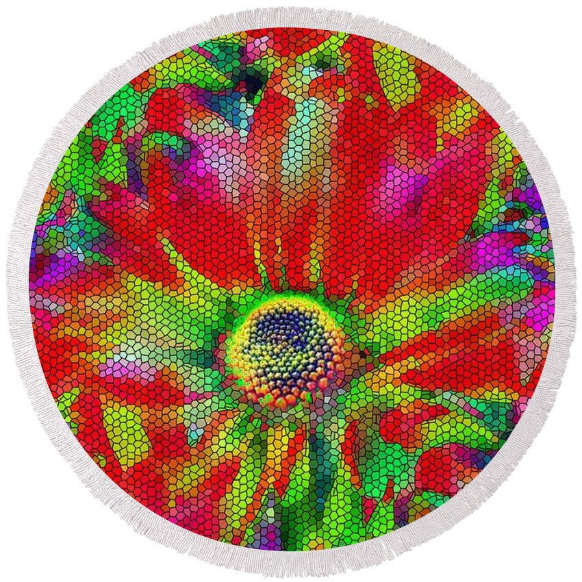 Abstract Round Beach Towel featuring the photograph Petal Power by Tim Allen