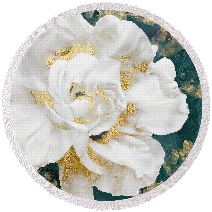Petals Round Beach Towel featuring the painting Petals Impasto White And Gold by Mindy Sommers