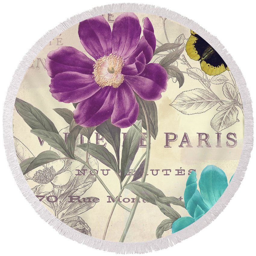 Petals Of Paris Round Beach Towel featuring the painting Petals Of Paris II by Mindy Sommers