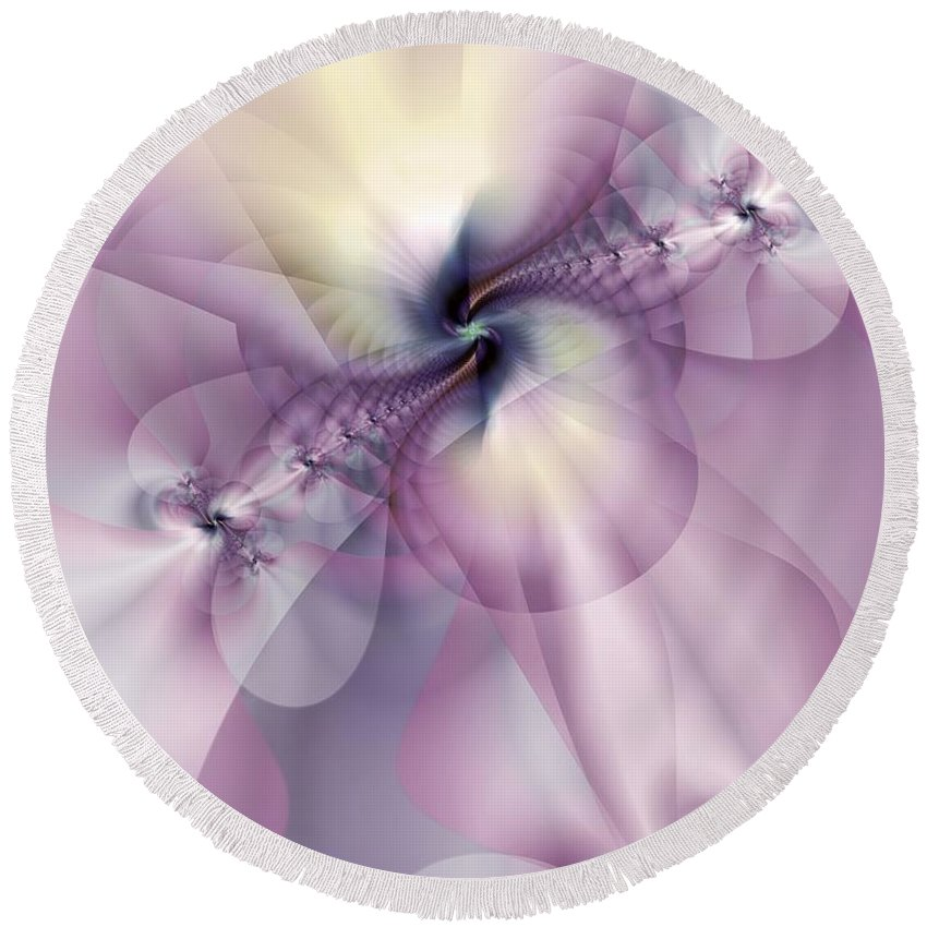 Abstract Round Beach Towel featuring the digital art Petals Of Pulchritude by Casey Kotas