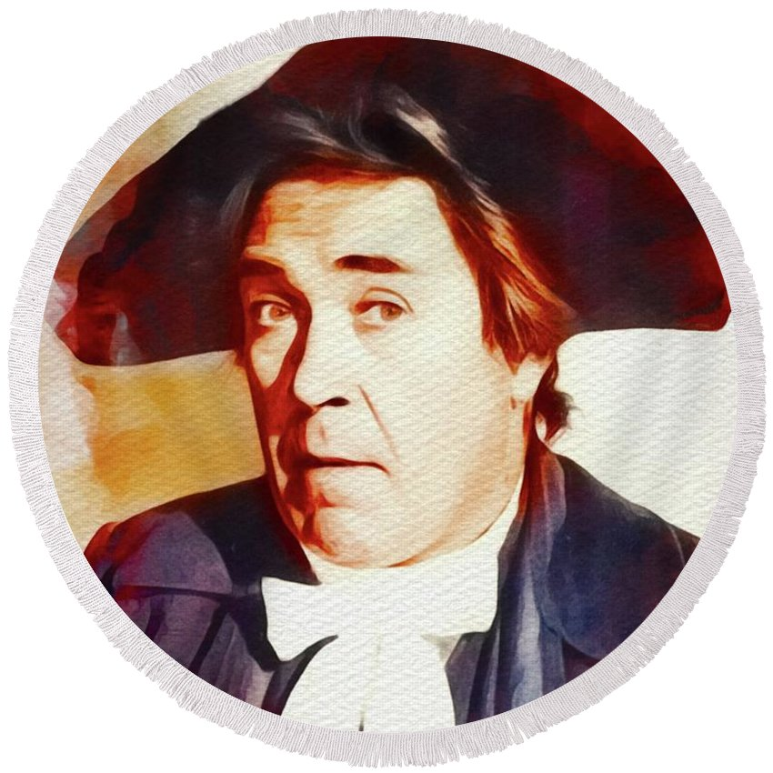 Peter Round Beach Towel featuring the painting Peter Butterworth, Carry On Films Cast by John Springfield