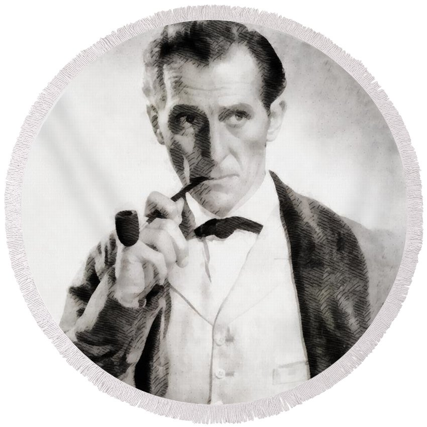 Hollywood Round Beach Towel featuring the painting Peter Cushing As Sherlock Holmes by John Springfield
