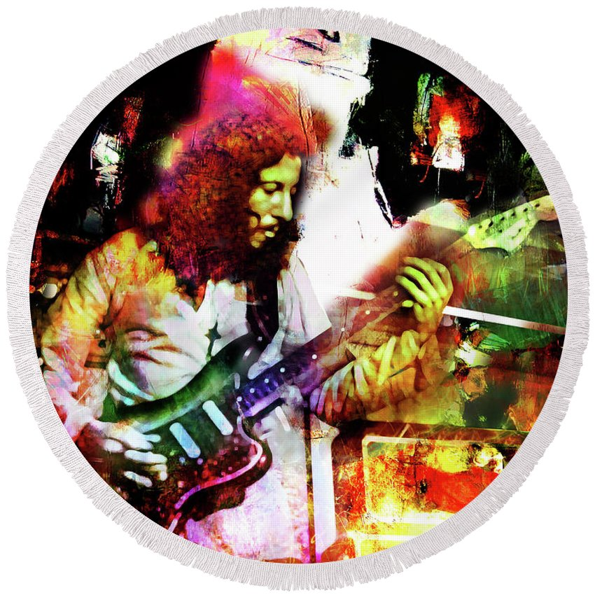 Peter Green Round Beach Towel featuring the mixed media Peter Green by Mal Bray