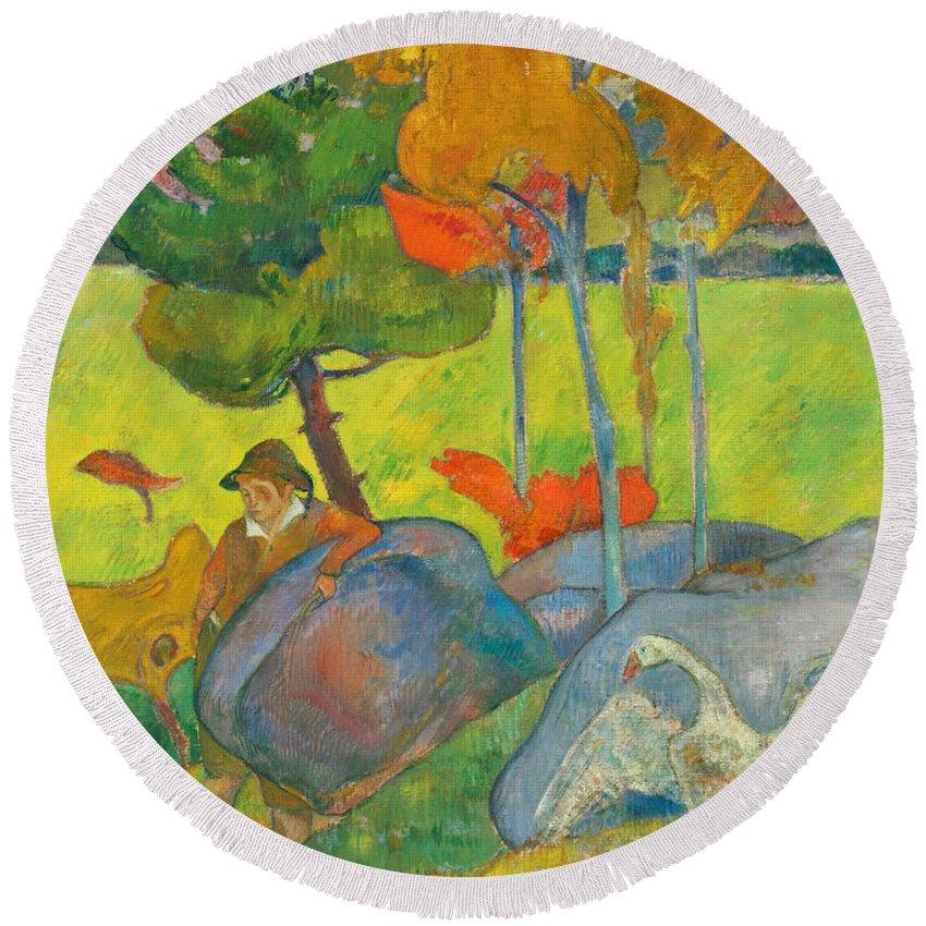 Paul Gauguin Round Beach Towel featuring the painting Petit Breton A L'oie by Paul Gauguin