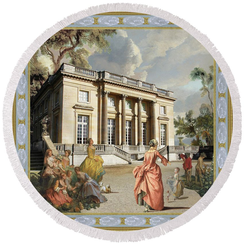 Versailles Round Beach Towel featuring the painting Petit Trianon Medallions by John Dobie