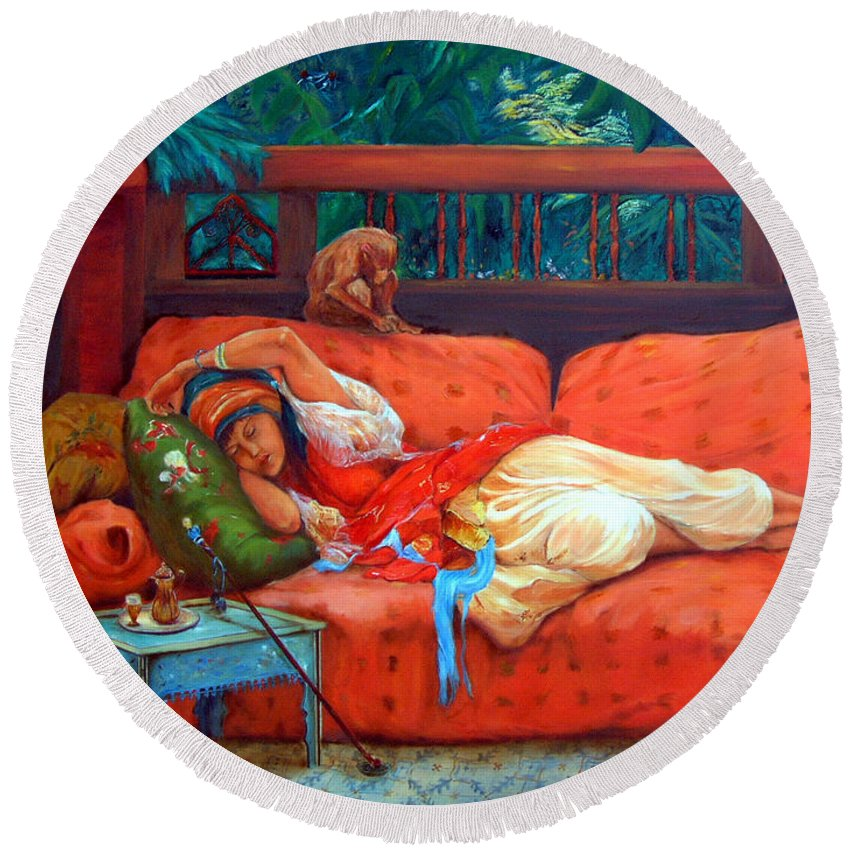 Figurative Art Round Beach Towel featuring the painting Petite Somme After A. Bridgman by Portraits By NC
