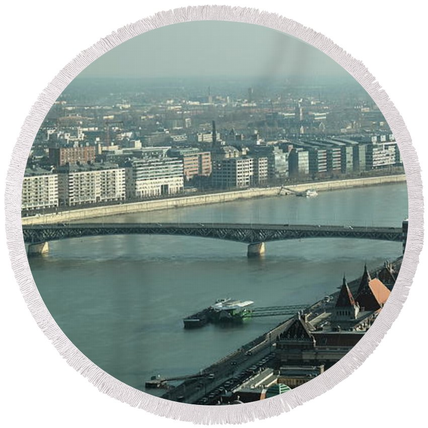 Budapest Round Beach Towel featuring the photograph Petofi Bridge by Explorer Lenses Photography