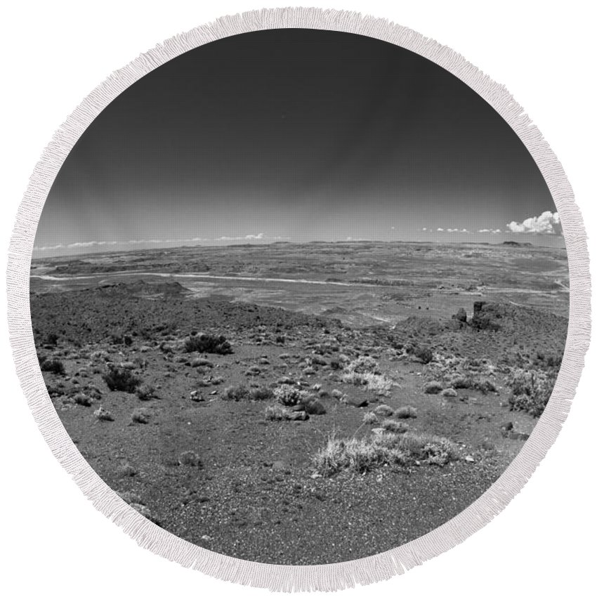 Petrified Forest Round Beach Towel featuring the photograph Petrified Forest National Park by Robert J Caputo