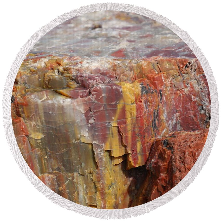 Petrified Wood Round Beach Towel featuring the photograph Petrified Wood 2 by Ernie Echols