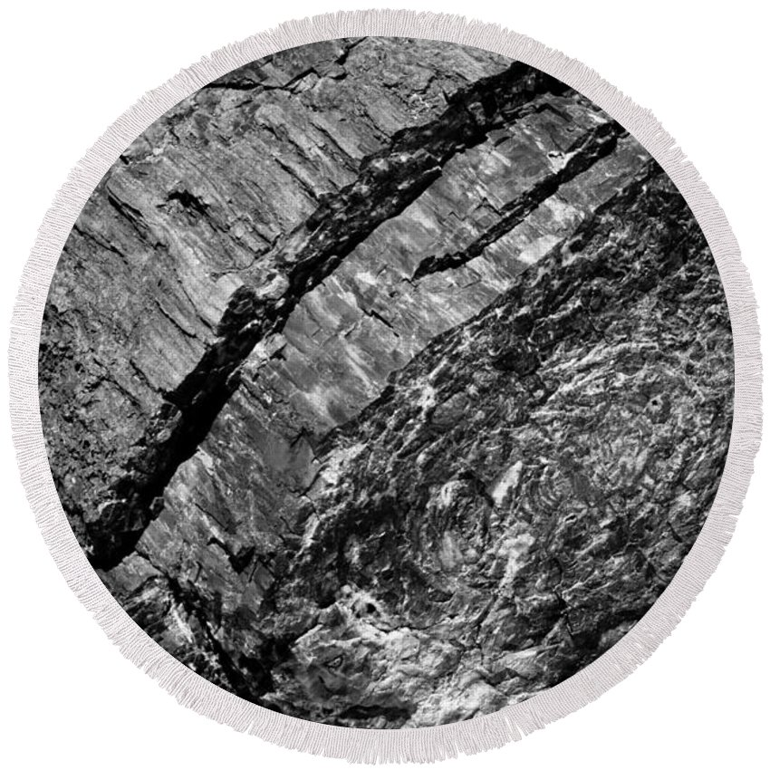 Petrified Forest Round Beach Towel featuring the photograph Petrified Wood #4 by Robert J Caputo