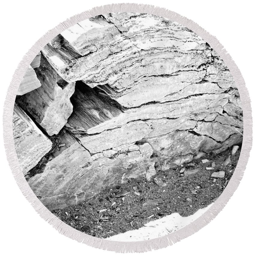 Petrified Forest Round Beach Towel featuring the photograph Petrified Wood #5 by Robert J Caputo