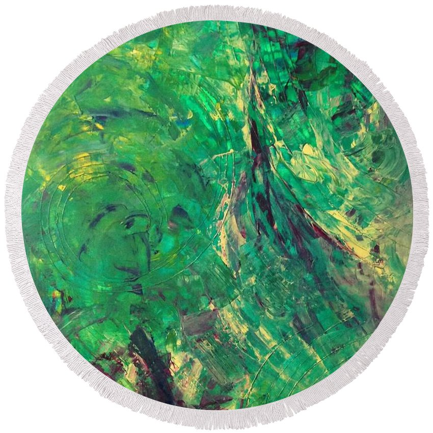 Abstract Art Round Beach Towel featuring the painting Ph1 Planet Hunters 1 by John Dossman