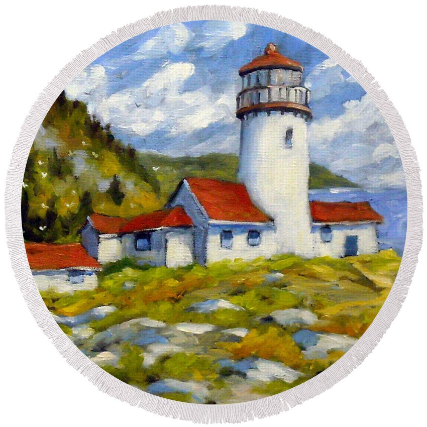 Fishing Boats Round Beach Towel featuring the painting Phare 004 by Richard T Pranke