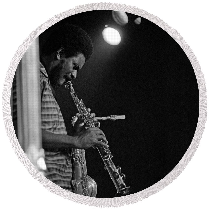 Pharoah Sanders Round Beach Towel featuring the photograph Pharoah Sanders 1 by Lee Santa
