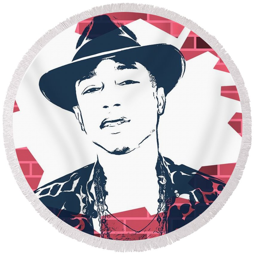 Pharrell Graffiti Tribute Round Beach Towel featuring the digital art Pharrell Graffiti Tribute by Dan Sproul