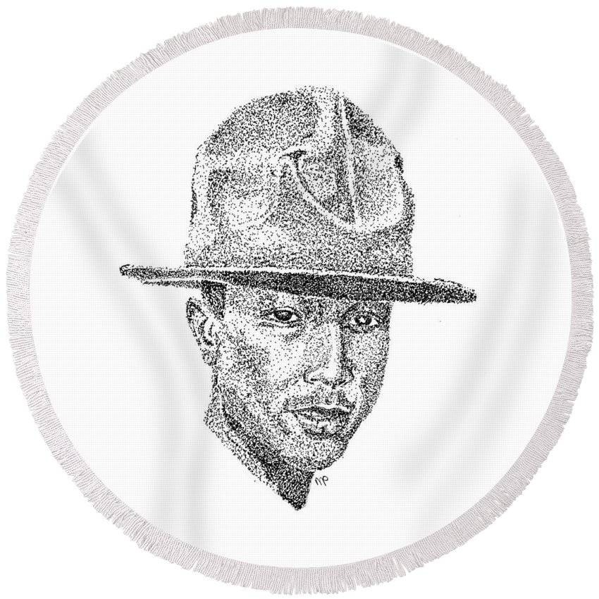 Neptunes Round Beach Towel featuring the drawing Pharrell by Marcus Price
