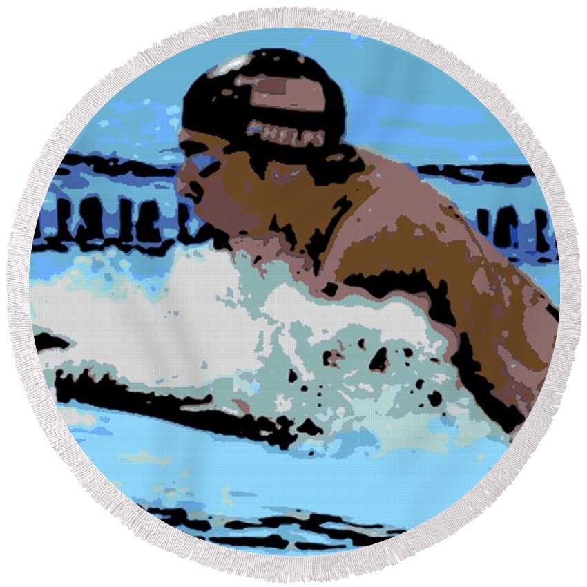 Michael Phelps Round Beach Towel featuring the photograph Phelps 2 by George Pedro