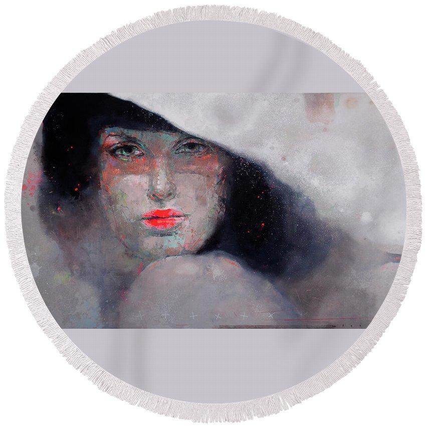 Girl Round Beach Towel featuring the painting Phenomenon by Viktor Sheleg