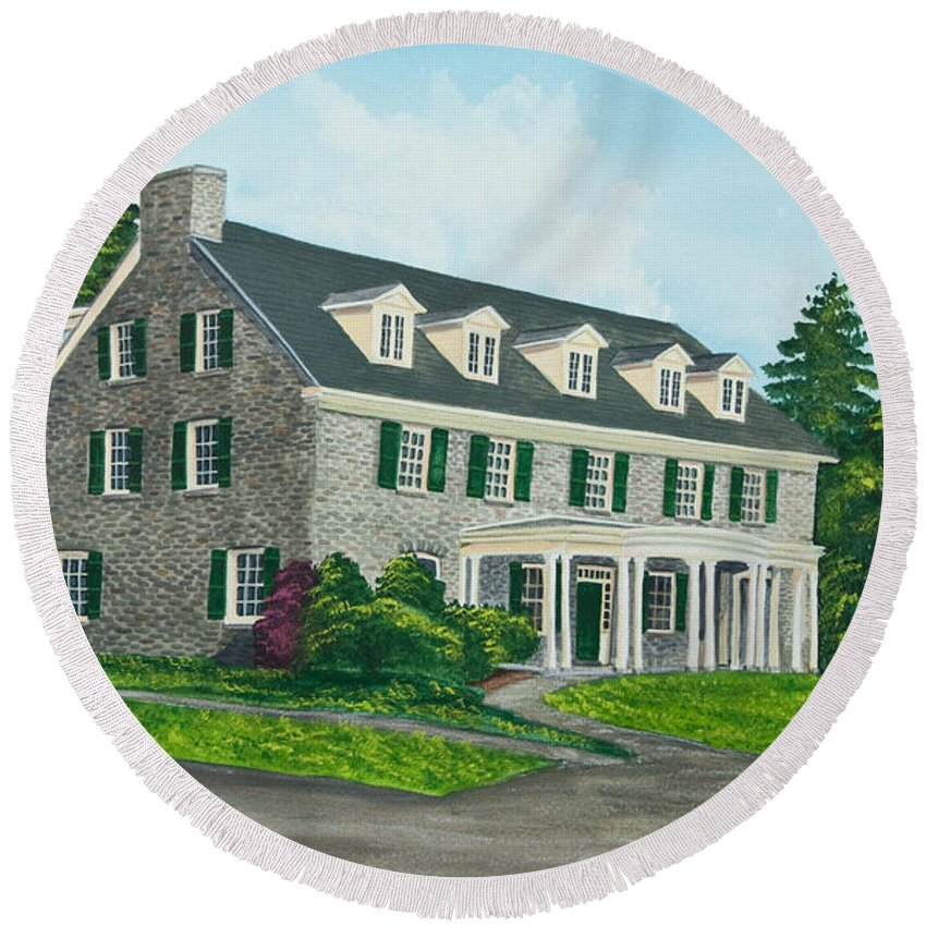 Colgate University Round Beach Towel featuring the painting Phi Gamma Delta by Charlotte Blanchard