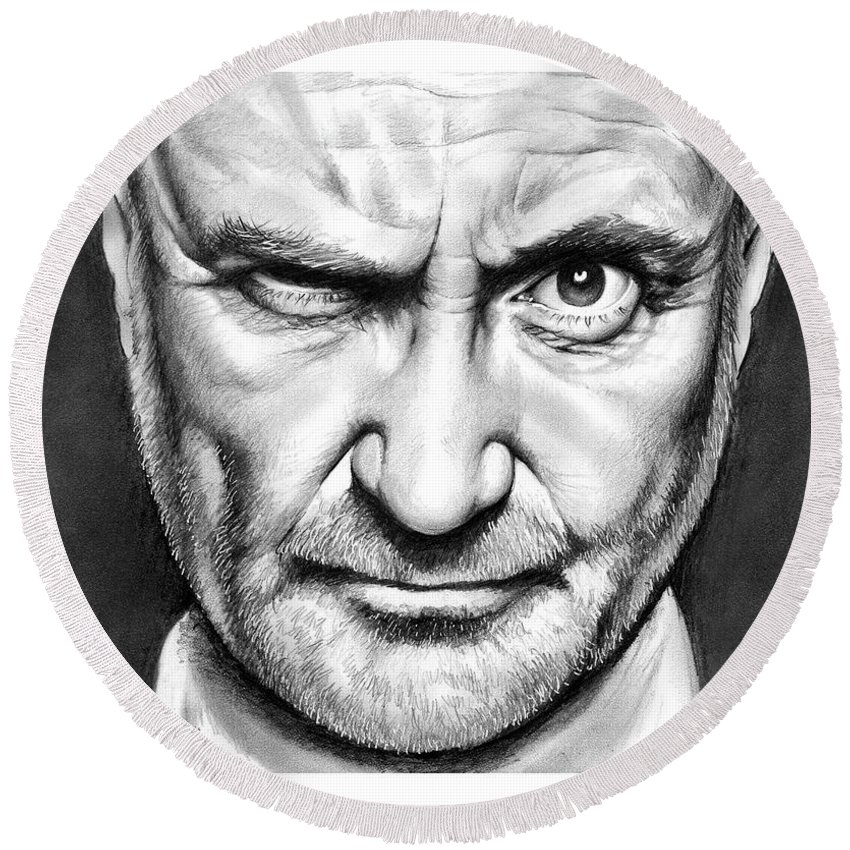 Phil Collins Round Beach Towel featuring the drawing Phil Collins by Greg Joens