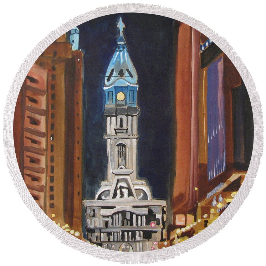Landmarks Round Beach Towel featuring the painting Philadelphia City Hall by Patricia Arroyo