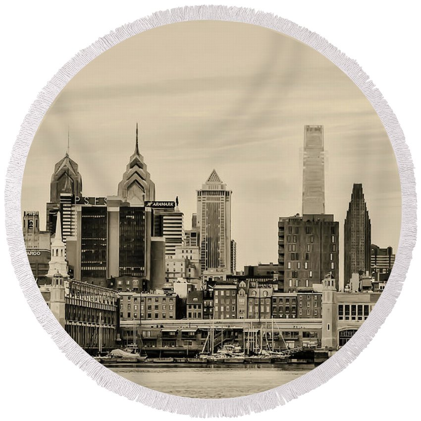 Philadelphia Round Beach Towel featuring the photograph Philadelphia From The Waterfront In Sepia by Bill Cannon