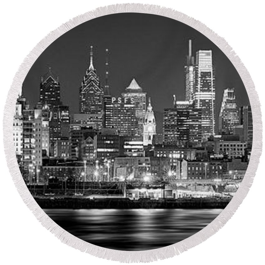 Philadelphia Skyline At Night Round Beach Towel featuring the photograph Philadelphia Philly Skyline At Night From East Black And White Bw by Jon Holiday