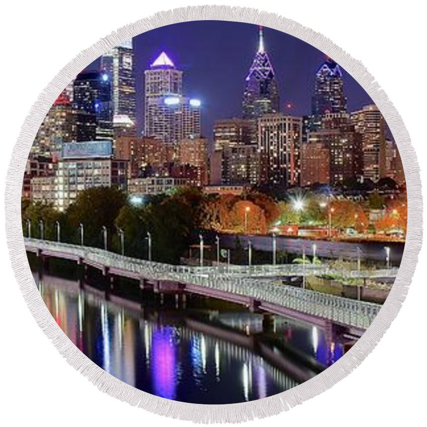 Philadelphia Round Beach Towel featuring the photograph Philly In Panoramic View by Frozen in Time Fine Art Photography