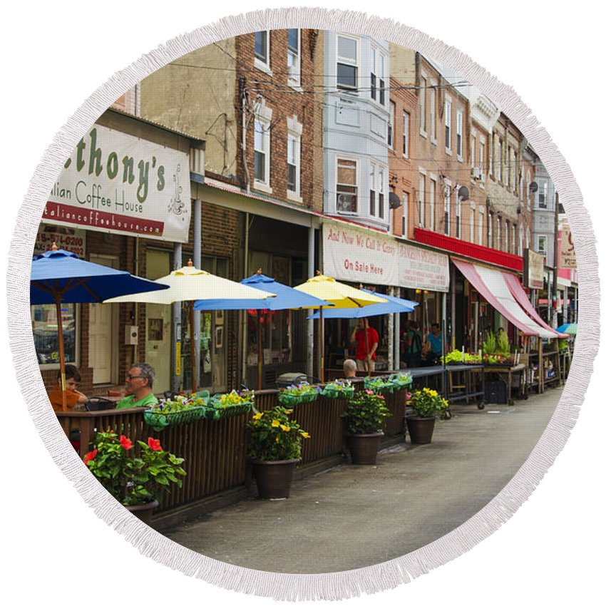 Philly's Round Beach Towel featuring the digital art Philly's Italian Market by Bill Cannon