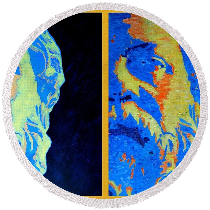 Socrates Round Beach Towel featuring the painting Philosopher - Socrates 2 by Ana Maria Edulescu
