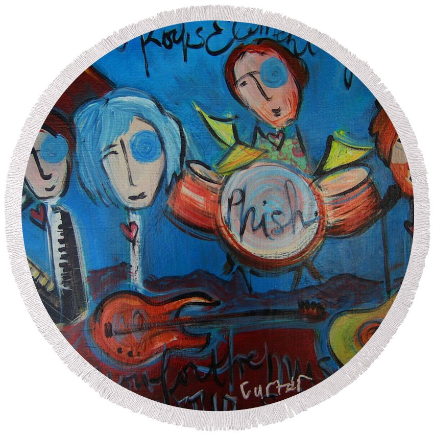 Painting Round Beach Towel featuring the painting Phish For Red Rocks Amphitheater by Laurie Maves ART