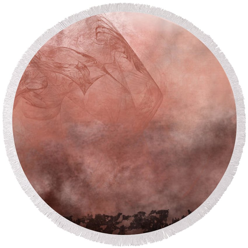 Phoenix Round Beach Towel featuring the painting Phoenix Rising by Christopher Gaston