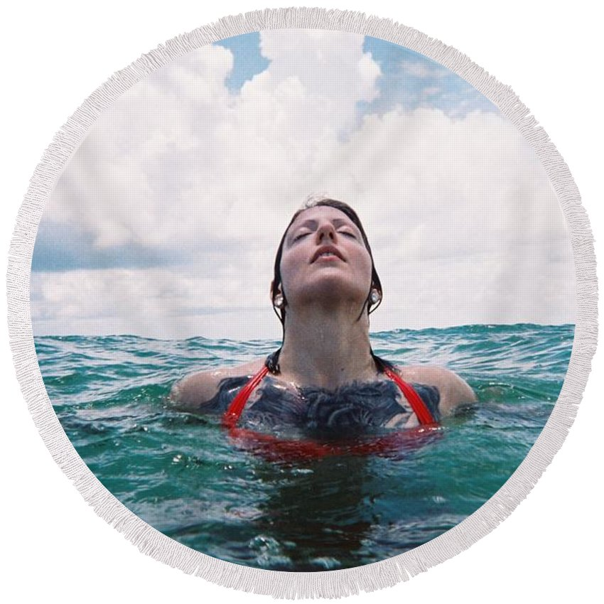 Film Photography Round Beach Towel featuring the photograph Photographer by Kari Ruff