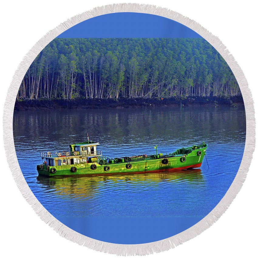 Phu My Round Beach Towel featuring the photograph Phu My 1 by Ron Kandt