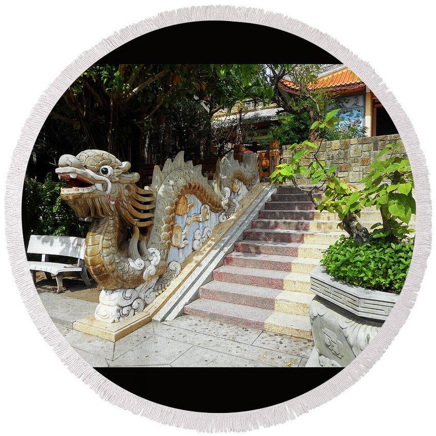Phu My Round Beach Towel featuring the photograph Phu My Statues 8 by Ron Kandt