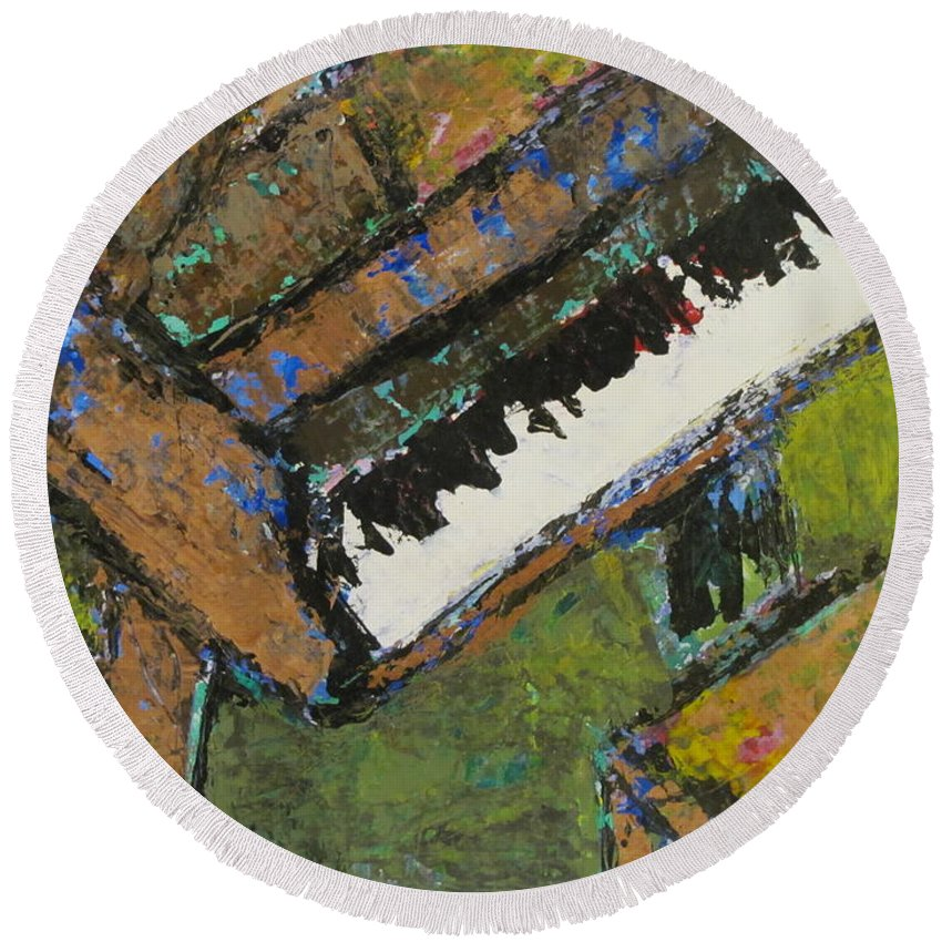 Piano Round Beach Towel featuring the painting Piano Close Up 1 by Anita Burgermeister