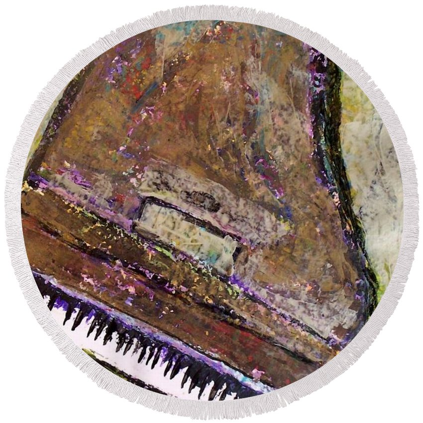 Piano Round Beach Towel featuring the painting Piano In Bronze by Anita Burgermeister