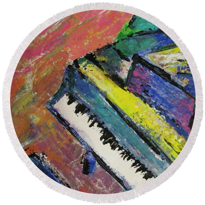 Music Round Beach Towel featuring the painting Piano With Yellow by Anita Burgermeister