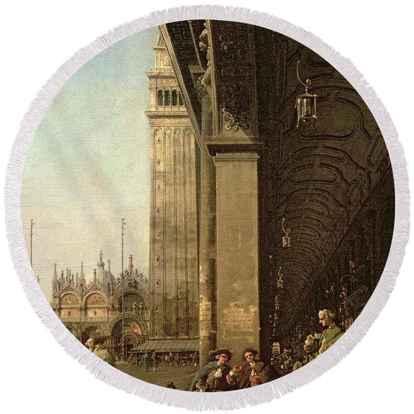 Canaletto Round Beach Towel featuring the painting Piazza Di San Marco And The Colonnade Of The Procuratie Nuove by Canaletto
