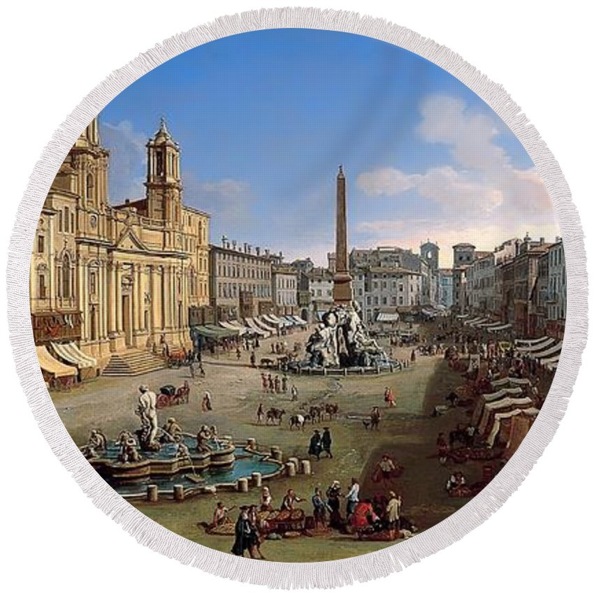 Painting Round Beach Towel featuring the painting Piazza Novona - Rome by Mountain Dreams