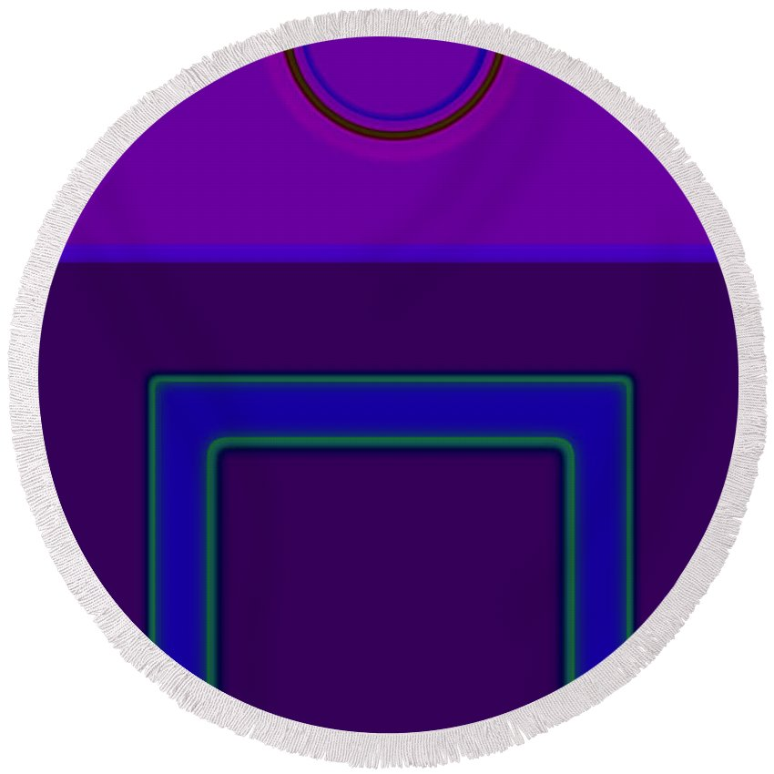 Classical Round Beach Towel featuring the digital art Piazza Purple by Charles Stuart