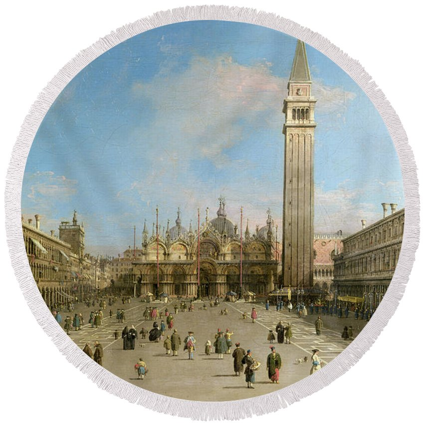 Canaletto Round Beach Towel featuring the painting Piazza San Marco Looking Towards The Basilica Di San Marco by Canaletto